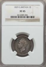 G.B./ENGLAND GEORGE IV  1829  1 SHILLING SILVER COIN, CERTIFIED NGC XF-45