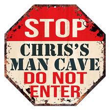 OTGM-0096 STOP CHRIS'S MAN CAVE Tin Rustic Sign Man Cave Decor Gift Ideas