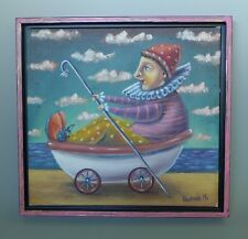 Mexican framed painting art jester in bathtub acrylic on paper by GERMAN RUBIO