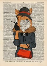 Glamorous Foxy Lady Dictionary Art Print Wall Art Vintage Animal in Clothes