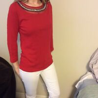 Womens, NWT, Red Long Sleeve top, Embellished neckline, S