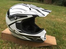 Fox Racing Helmet White Black XS  53-54cm DOT Motorcross Dirt Bike Motorcycle