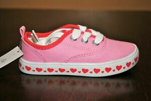 Carter's Girls' Austina Pink Heart Canvas Sneakers - Size 7 Toddler