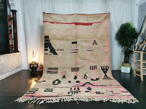 Tribal Moroccan Boujaad Handmade Rug 6'3x9'9 Berber Abstract Beige Pink Wool Rug