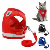 Nylon Cat Harness And Leash Set Reflective Kitten Puppy Dogs Jacket Mesh Clothes