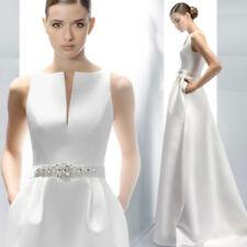 Hochzeitskleid Brautkleid schlicht Kleid Braut mit od. ohne Schleppe ivory BC533