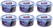6 x LOCK AND & LOCK ROUND PLASTIC FOOD STORAGE CONTAINER 300ML HPL932