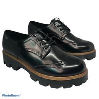 MTNG Lace Up Designer Style Shiny Black Platform Wedge Heels Shoes UK 7 Eur 40