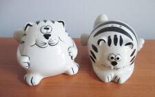 Pier 1 Chubby Fat Cat Salt Pepper Shaker Set Black White Stripe Ceramic Kitty