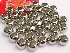 70 x Silver Chunky Round Spacer 9.5mm  Large Hole 4.5mm New!