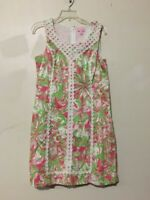 Lilly Pulitzer Size 12 Green Pink Cream Floral Women Dress Formal Cocktail