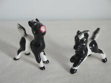 CUTE Salt & Pepper Shakers Black & White Pinto Ponies / Horses Ceramic