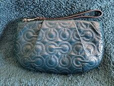 Coach Teal Blue Patent Leather Siganture Julia Clutch Wristlet Handbag Purse