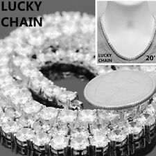"""20""""14K WHITE GOLD FINISH BLING OUT TENNIS CHOKER CHAIN NECKLACE 6mm 52g"""