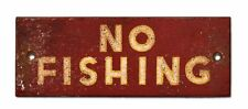 NEW! Red NO FISHING Sign Vintage Cabin Signs Weathered Nostalgic Rustic