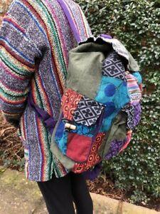 Karma Unisex Hippie Ethnic Boho Handmade Nepal Patchwork Backpack Rucksack Bag