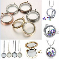 Fashion Living Memory Floating Charm Crystal Glass Round Locket Pendant Necklace