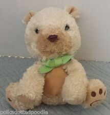 Carters Child Of Mine Tan/Beige Green Ribbon Brown Bear Puppy Dog Stuffed plush