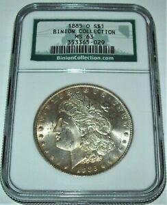 1885-O BINION COLLECTION MORGAN SILVER DOLLAR COIN - NGC MS 63