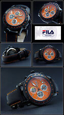 MEN'S -CHRONOGRAPH FILA WATCH SPECIAL DESIGN TACHYMETER EASY TO READ ORANGE NEW