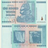 ZIMBABWE $100 Hundred Trillion Dollars GEM UNC Banknote (2008) P-91 Prefix AA
