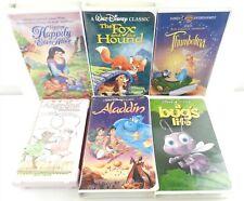 Disney + Vhs Lot: 6 Movies: Aladdin, Thumbelina, Angelina, Fox & Hound More T61