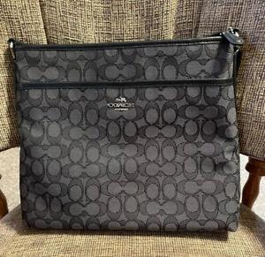 Coach Signature File Crossbody/Messenger Bag  - Black/Smoke - EUC