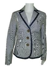 Womens Boden Blue White Striped Cotton Blazer Jacket sz US 4 UK 8