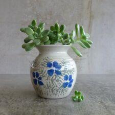 Bay Pottery Mogo Small Vase Australian Studio Pottery 1990s Blue Flowers 8.8cm