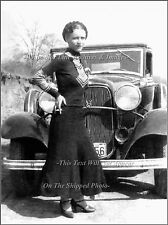 Poster Print: Bonnie Parker In Front Of '32 Ford V8 Rag Top