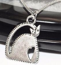 """CAT_Small Pendant on 18"""" Chain Necklace_Kitten Kitty Feline Pet Silver Heart_61N"""