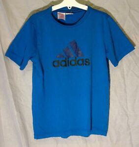 Boys Girls Adidas Plain Blue Black Logo Short Sleeve T-Shirt Tee Age 11-12 Years