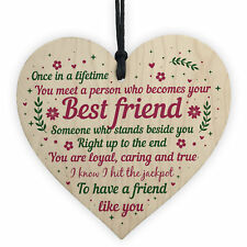 Best Friend Birthday Gifts Thank You Wooden Hanging Heart Friendship Plaque Sign