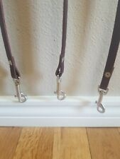 4ft brown leather dog leash with silver clasp