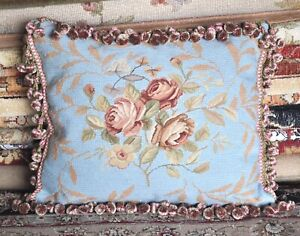 """16""""x20"""" Floral Handmade Wool Needlepoint Cushion Cover Pillow Case Free Shipping"""