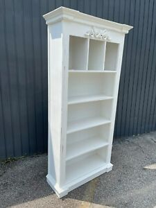 Distressed Magnificent tall carved Green Four Shelf bookcase bookshelf