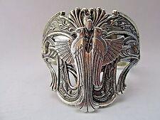 Egyptian Phoenix or Falcon Silver cuff Bracelet Vintage Silver Cuff Double eagle