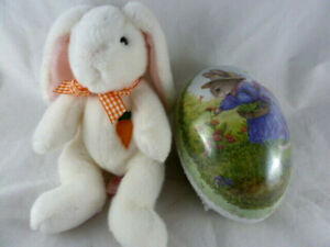"Russ Berrie Bunkies 8"" Bunny Rabbit Plush Easter Vintage plus Paper Mache 6"" egg"
