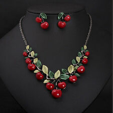 1X Red Cherry Necklace Earrings Jewellery Set Bridal Wedding Accessories Beauty~