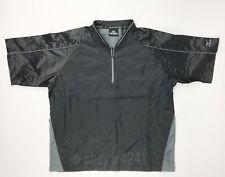New Mizuno Men's Medium Protect Batting Jacket 1/4 Zip Short Sleeve Black