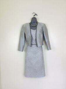 🌸Linea Raffaelli Size 14 to 16 Silver Dress Jacket Mother of the Bride Groom🌸