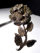 ANTIQUE SILVER MARCASITE ROSE BROOCH