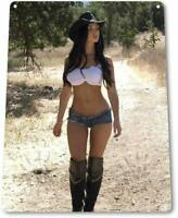 Big Boots Pinup Girl Sexy Cowgirl Farm Man Cave Barn Wall Decor Metal Tin Sign