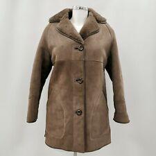 LAKELAND Brown Jacket Coat Women's Suede Shearling Winter Size UK 12 050267