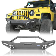 Front Bumper w/ LED Lights & D-Ring Textured Black for 87-06 Jeep Wrangler YJ TJ