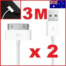2 X 3 Metre Long iPhone 4 4S USB Data Sync Charger Cable for iPad iPod 3m white