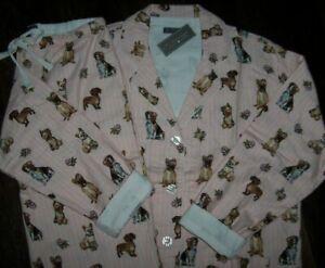 NWT PJ Salvage WARM Blush Pink Stripe DOGS & FLOWERS Cotton Flannel Pajama Set L