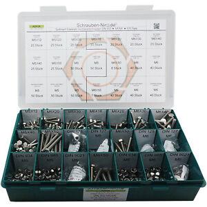 Sortiment/Set Edelstahl Sechskantschrauben DIN 933 VA A2 V2A + Scheiben/Muttern