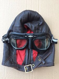 Leather Flying Driving Motorcycle Helmet & Halcyon Goggles