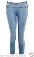 NEW Womens 3/4 Denim Pedal Pushers Shorts Capri Size 8 10 12 14 Blue Pants Short